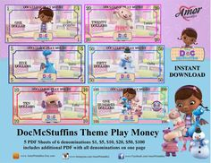 Doc McStuffins Play Money digital download by AmorPrintables Toy Story Birthday, Toy Story Party, 2nd Birthday, Mickey Mouse Parties, Mickey Mouse Birthday, Printable Play Money, Party Printables, Easter Printables, Bubble Guppies Birthday