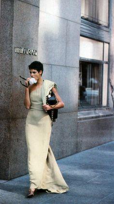 Peter Lindbergh for American Vogue, September 1989. Dress by Giorgio Armani.
