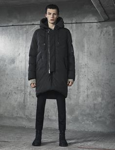 AllSaints Men's November Lookbook Look 8: Mason Parka, Hannent Crew, Tera Trousers, Sentry Boot.
