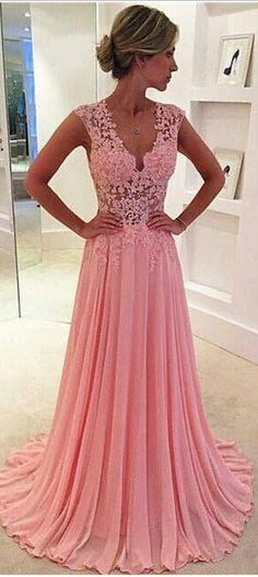 Pink A Line Chiffon Prom Dresses Lace Appliques Plunging V Neck Sexy Evening Gown Sheer Cap Sleeves Girls' Party Dress