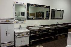 New vanities on display in our new showroom. Luxury Bathroom Vanities, Bathroom Design Inspiration, Contemporary, Modern, Double Vanity, Showroom, Display, Flooring, Decor