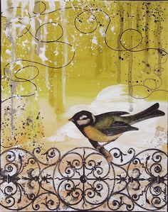 Bird on Iron Gate Mixed Media Graffiti Abstract by PoshCulture, $65.00