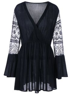 V Neck Plus Size Lace Long Sleeve Dress