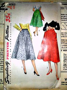 Misses and Womens Skirts Vintage 1950s Sewing Pattern Simplicity 4083 WAIST 32 Plus Size