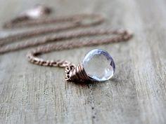 Crystal Quartz Necklace 14K Rose Gold Fill