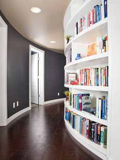 built in bookshelf in hallway