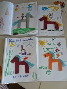 Martinho (folding and drawing)- lenda de S. Martinho (dobragem e desenho) legend of S. Summer Crafts, Fun Crafts, Diy And Crafts, Crafts For Kids, Art Lessons For Kids, Projects For Kids, Art Projects, Playroom Slide, Hl Martin