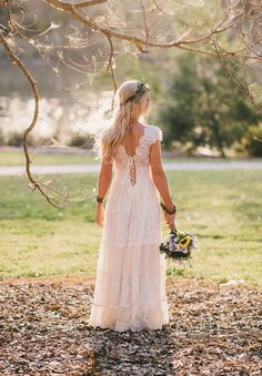 Boho lace wedding dress. Beautiful bride Elana wearing the CHARLOTTE by Grace Loves Lace on her special day. Made to order boho luxe wedding dresses.