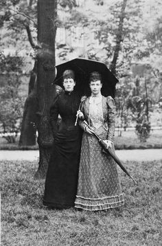 Alexandra, Princess of Wales with her sister, Empress Marie Feodorovna of Russia, dressed in mourning for Prince Albert Victor. 1892.