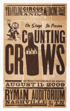 Hatch Show Print | ryman.com Counting Crows 2009