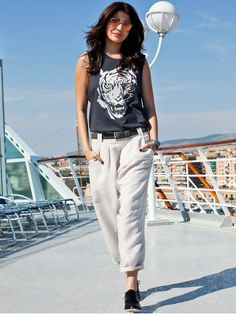 Shop NOBLE FAITH TIGER PRINT TOP AND CASUAL TROUSERS AS SEEN ON ANUSHKA SHARMA Looks
