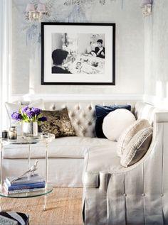 living room - tufted shimmery sofa, velvet pillows, seagrass, walls