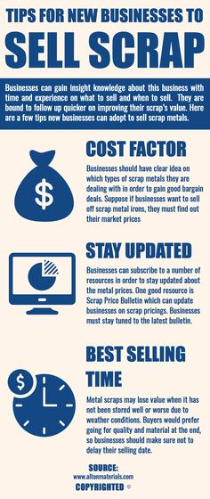 There are few tips for new businesses to sell their scrap materials. They can decide upon the cost factor, stay updated about metal prices and know the best time for selling off scrap metals.