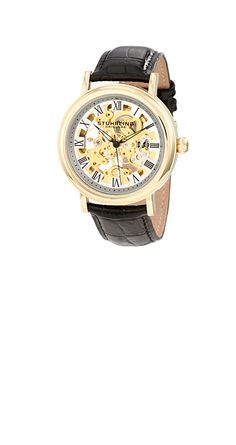 STUHRLING ORIGINAL 313A.333531(ブラック) ゴールドのシースルーデザインの時計。 豪華さの中にも上品さが有ります。