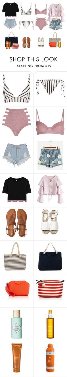 """Beach day 🌊"" by audrey-balt on Polyvore featuring Tori Praver Swimwear, Moschino, Chicwish, Aéropostale, Joie, Frame Denim, Givenchy, JADEtribe, Benefit and Clarins"
