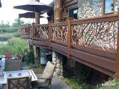 Curved Deck Railing for Log Home