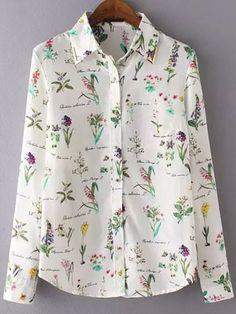 Lapel Florals Slim Blouse Mobile Site