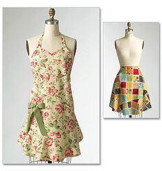 Aprons: well have not made yet think I would like the flounce and ties out of different fabric?