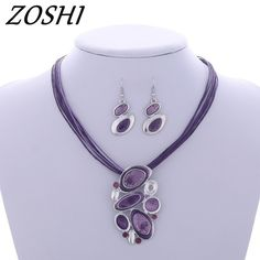 312c3e127 ZOSHI 2017 Jewelry sets Factory price Wholesale Drop earrings For Women Pendant  necklace Leather Rope Chain set jewelry set