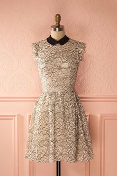 Herminie - Black and white lace cocktail dress