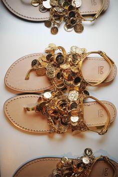 Dolce & Gabbana gold coin sandals