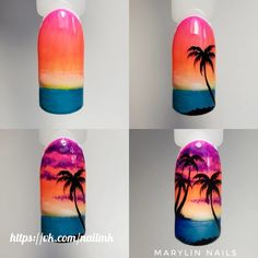 Summer Palm Tree Nails Art Tutorials 30 Ideas For 2019 - Tree - Unhas Sunset Nails, Beach Nails, Diy Nails, Manicure, Palm Tree Nail Art, Palm Nails, Vacation Nails, Diy Nail Designs, Nail Tutorials