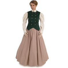 Victorian Style Vest and Skirt Victorian Steampunk, Victorian Women, Steampunk Costume, Edwardian Fashion, Plaid Skirts, Printed Skirts, Style Inspiration, Model, How To Wear
