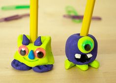 Monster Pencil Holders: These cute little monsters will keep your pencils in reach. Let your imaginations run wild to create weird and wonderful monsters of any shape and color out of air dry clay. A great project for boys to have on hand for a rainy day, as a back to school project or just as fun.
