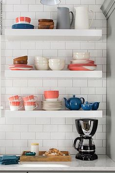 White open shelves in the kitchen