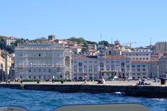 View from a boat looking towards Piazza della Unita. Trieste.