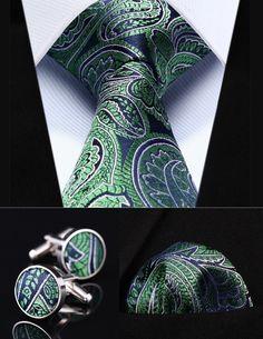 "TZP13G8 Green Blue Paisley 3.4"" Silk Men Tie Necktie Handkerchief Cufflinks Set Party Wedding Classic Pocket Square Tie"