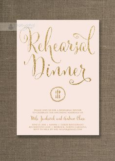 Blush Pink & Gold Rehearsal Dinner Invitation by digibuddhaPaperie, $20.00