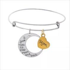 Mom I Love YouTo The Moon & Back Bracelet Two Tone Bangle Charm Adjustable Wire  #Handmade #Bangle