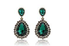 Brinco Glam cristal verde esmeralda e strass incolor — Dáli Acessórios