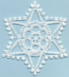 Snowflake 14 - free standing lace machine embroidery, designed to look like crochet; looks better with heavier thread or 2 threads through the needle