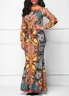 Long Sleeve Belted Printed Mermaid Dress | Rosewe.com - USD $33.60
