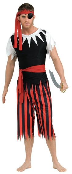 Rubie's Costume Pirate Complete Adult Value Costume, Black/Red, One Size