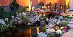 Fish Pond, with Wood Bridge. This Bridge would be a nice addition to our pond.