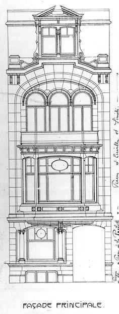 Etterbeek - Avenue de Tervueren 33 - D'OURS Franz Detail Architecture, Neoclassical Architecture, Classic Architecture, Architecture Drawings, Historical Architecture, Interior Architecture, Building Sketch, Building Facade, Facade Design