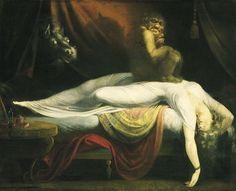 """La parálisis del sueño de pintar """"The Nightmare"""" Henry Fuseli """"The Nightmare"""" puede haber sido inspirado por la sensación y alucinaciones de la parálisis del sueño pecho-aplastamiento. La parálisis del sueño se produce cuando el cerebro y el cuerpo no son bastante en la misma página cuando se trata de dormir. Durante el sueño de movimientos oculares rápidos (REM), soñar es frecuente, pero los músculos del cuerpo están relajados hasta el punto de la parálisis, tal vez para evitar que la gente…"""