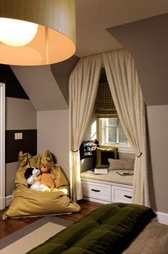 Curtains and shade in dormer window with seat, would love this in a room for Tori, she loves to curl up and read just like her mom & dad :)