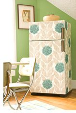 Not sure I would be brave enough to wallpaper my fridge but it is cool!