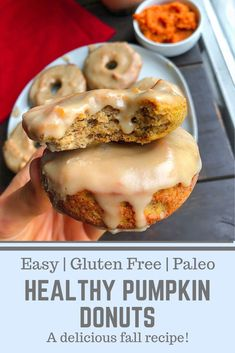 A delicious fall breakfast recipe that is paleo gluten free dairy free and sooo yummy These healthy pumpkin donuts are a must have easy recipe for fall mornings Paired with a cup of coffee you can t go wrong paleobreakfast glutenfreebreakfast # Paleo Dessert, Healthy Breakfast Recipes, Healthy Pumpkin Recipes, Paleo Pumpkin Recipes, Easy Recipes, Healthy Morning Breakfast, Summer Recipes, Paleo Snack Recipes, Healthy Delicious Recipes