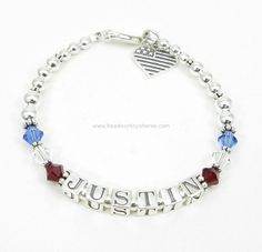 Sterling Silver Deployment Bracelet® with Swarovski Crystals and Sterling Silver Military Charm. $69.00 with Free Shipping.