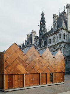 """jeroenapers: """"Het Pavillon Circulaire voor het stadhuis van Parijs, een paviljoen gebouwd volgens de principes van de Circulaire Economie in het kader van de COP 21. De meest opvallende feature van..."""