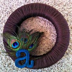 Peacock Feather Yarn Wreath with Monogram Letter