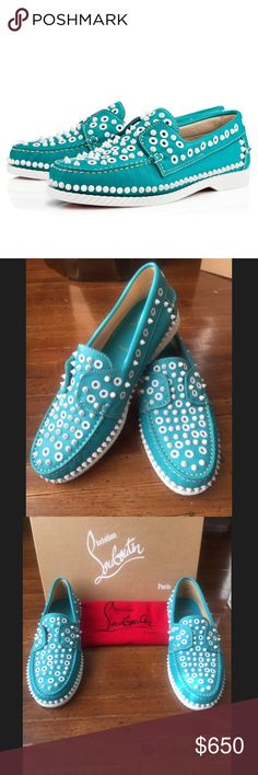 Host Pick! Louboutin Yacht Spikes Men's Flat Calf Host Pick for Men's Style Party 3/20/17! Never Worn! Christian Louboutin Yacht Spikes Men's Flat Riviera Leather…comes in original box and shoe bag. Color is Riviera White (teal) Christian Louboutin Shoes Boat Shoes