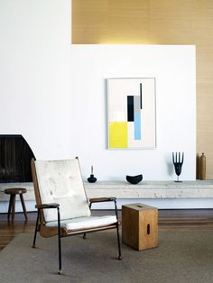 ledge. the art, chair and accessories+cool modernist interior