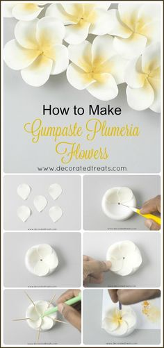 Cake Decorating Tutorials 28612 Here is a plumeria wedding cake I designed with gumpaste plumeria flowers (also known as Frangipani flowers). Read on for step by step guide on how to make this cake. Sugar Paste Flowers, Icing Flowers, Fondant Flowers, Clay Flowers, Fondant Rose, Creative Cake Decorating, Cake Decorating Techniques, Cake Decorating Tutorials, Cake Decorating With Fondant