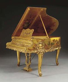 """A Very Fine French Louis XV Style Gildwood Carved """"Vernis Martin"""" Style Baby Grand Piano Decorated with Romantic Scenes signed: P. Merlin, the works by PLEYEL. Circa: Paris, 1900."""